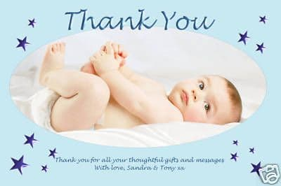 10 Personalised Thankyou PHOTO Cards N82