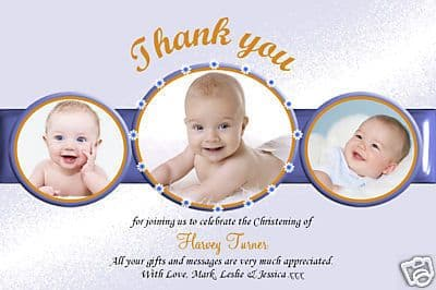 10 Personalised Thankyou PHOTO Cards No44