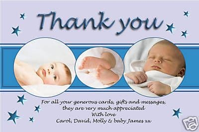 10 Personalised Thankyou PHOTO Cards No74
