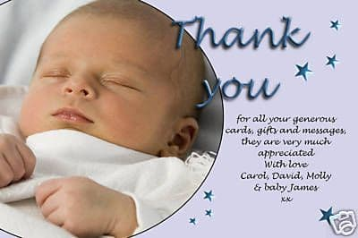 10 Personalised Thankyou PHOTO Cards No75