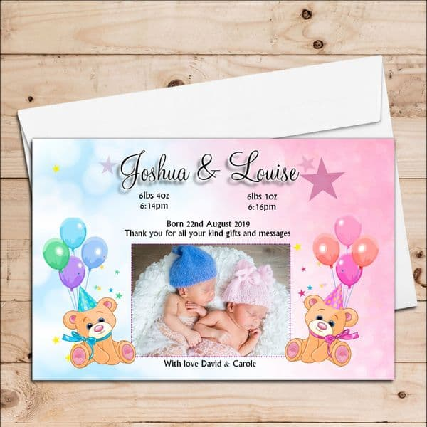 10 Personalised Twins Boy Girl Baby Birth Announcement Thank You PHOTO cards N69