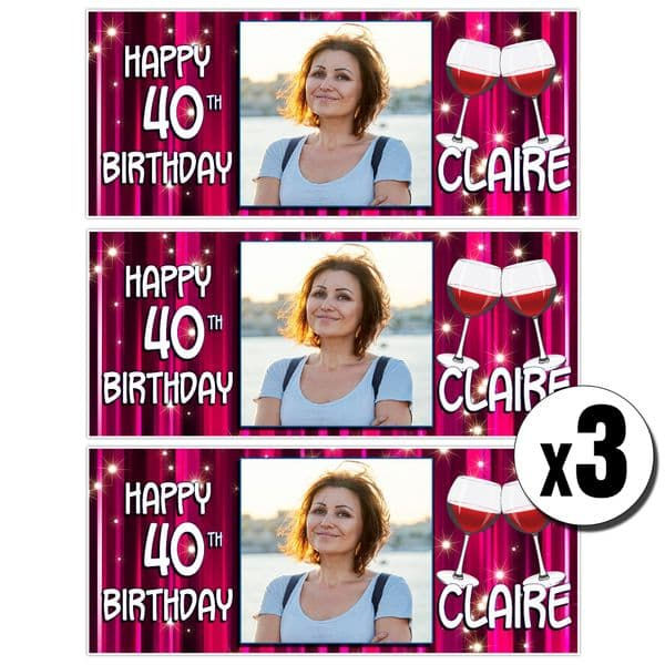 3 x Personalised Pink Glitz Wine Birthday Photo Party Banners ~ N27