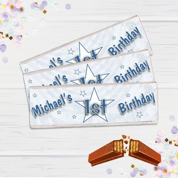 6 x Personalised 2 Finger KitKat Chocolate Favours - Blue Birthday Star N11
