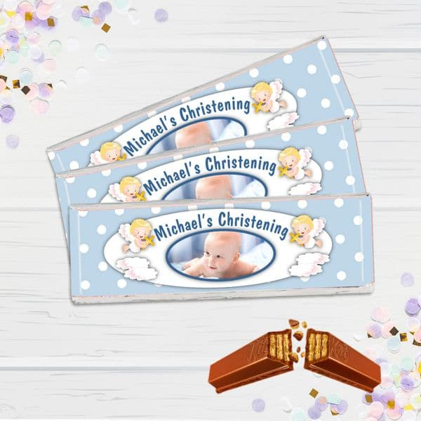 6 x Personalised 2 Finger KitKat Chocolate Favours - Blue Christening PHOTO N9