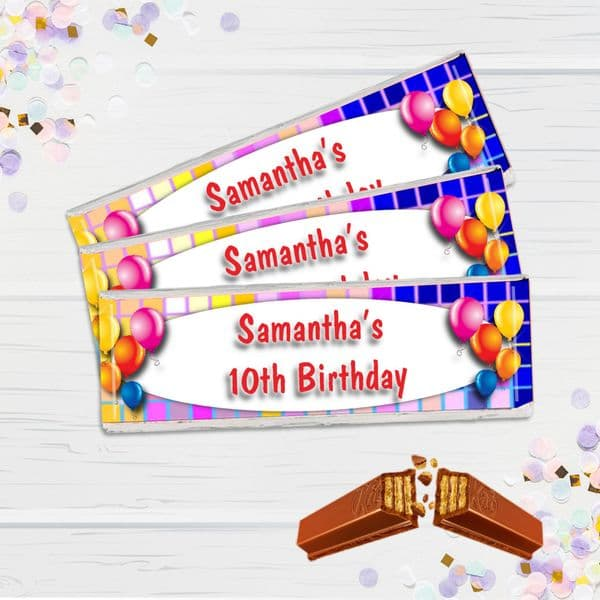 6 x Personalised 2 Finger KitKat Chocolate Favours - Disco Fever N6