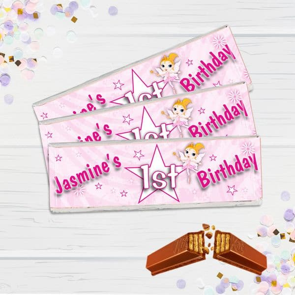 6 x Personalised 2 Finger KitKat Chocolate Favours - Pink Birthday Star N10