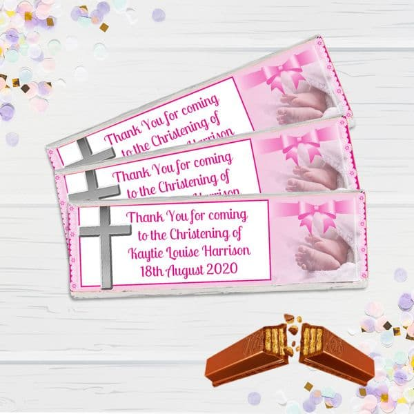 6 x Personalised 2 Finger KitKat Chocolate Favours - Pink Christening N13