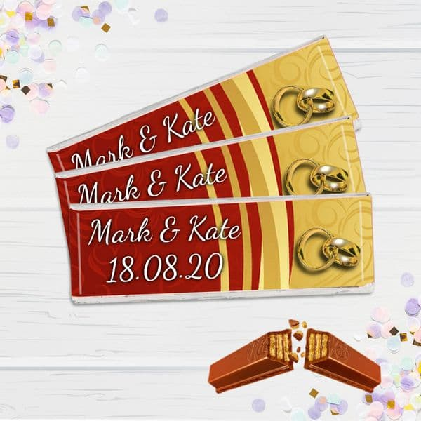 6 x Personalised 2 Finger KitKat Chocolate Favours - Wedding Day Favors N16