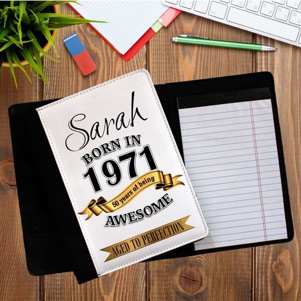 Personalised Any Name Awesome Notebook Notepad with paper N8 Any Name Born in any year