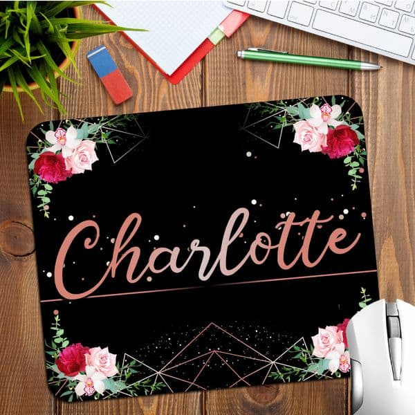 Personalised Any Name Black & Rose Gold Floral Mouse Pad PC Computer Mat N31