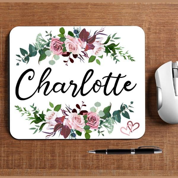 Personalised Any Name Floral Mouse Pad PC Computer Mat N34