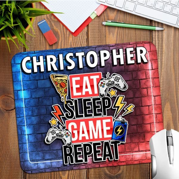 Personalised Any Name Gamers Gaming Mouse Pad PC Computer Mat N20 Eat Sleep Game Repeat