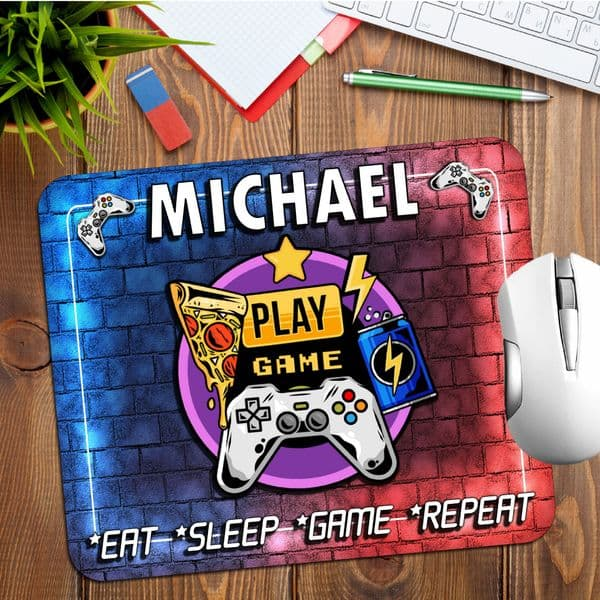 Personalised Any Name Gamers Gaming Mouse Pad PC Computer Mat N21 Eat Sleep Game Repeat