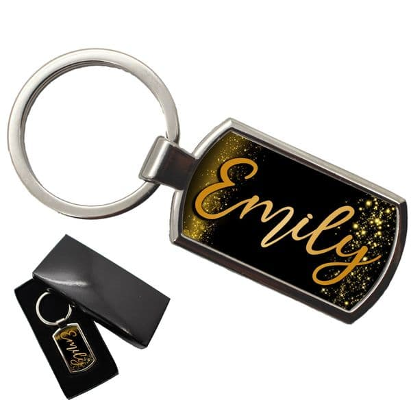 Personalised Any Name Keyring with gift box N14 Gold Sparkle
