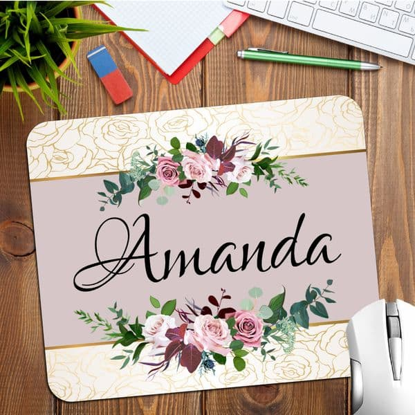 Personalised Any Name Rose & Gold Floral Mouse Pad PC Computer Mat N30