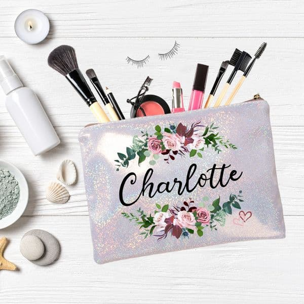 Personalised Any Name Vintage Floral Champagne Glitter Pouch Bag N9