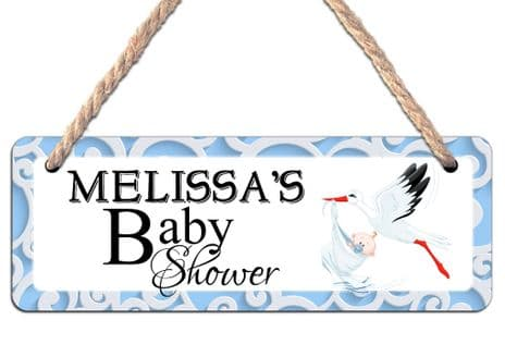 Personalised Baby Shower Hanging Sign N26 Wall or Door Plaque