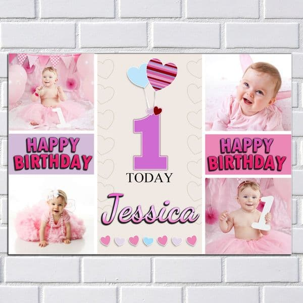 Personalised Birthday Party PHOTO Banner Poster N139 Girls ANY AGE