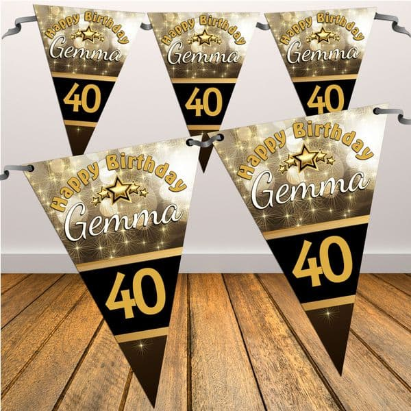 Personalised Black & Gold Sparkle Happy Birthday Flag Bunting Banner - N22