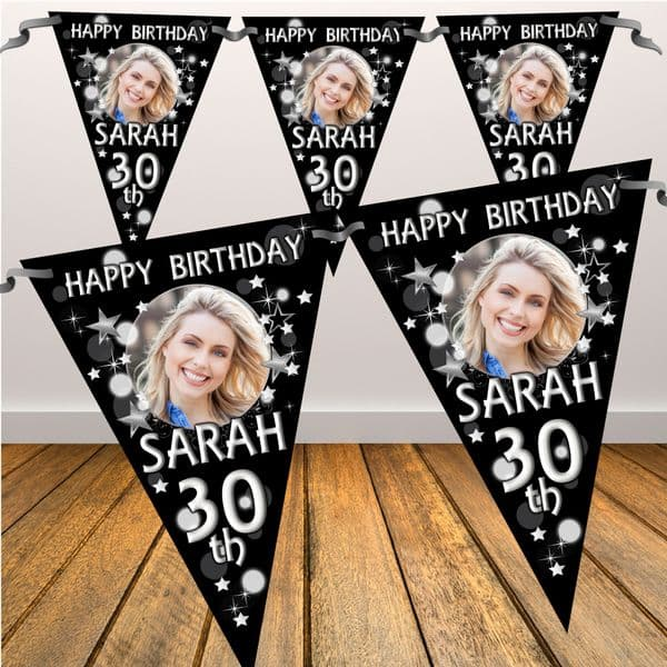 Personalised Black & Silver Happy Birthday Flag PHOTO Bunting Banner - N70 ANY AGE