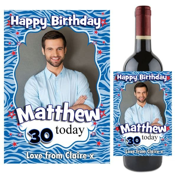 Personalised Blue Happy Birthday Wine / Champagne Bottle PHOTO Label N68