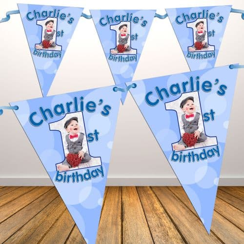 Personalised Boys First 1st Birthday Flag PHOTO Bunting Banner - N20
