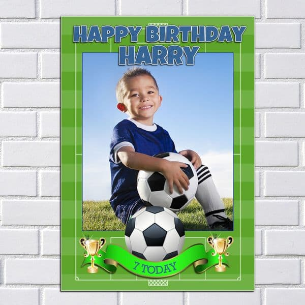 Personalised Boys Football Happy Birthday Party PHOTO Poster Banner N90