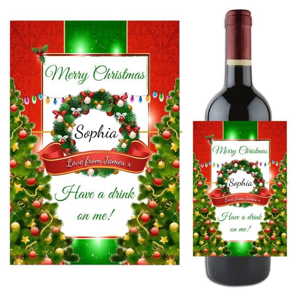 Personalised Christmas Xmas Wine / Champagne Bottle Label Gift N122