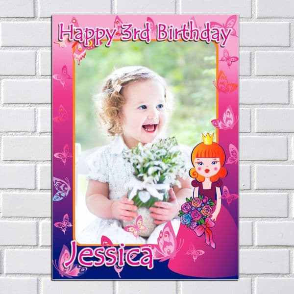 Personalised Girls Princess Happy Birthday Party PHOTO Poster Banner N12