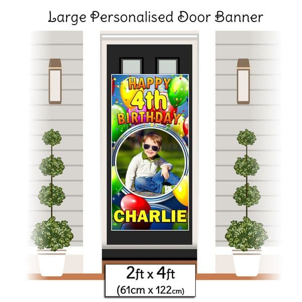 Personalised Happy Birthday Door PHOTO Banner Poster ~ Balloon Burst N37 Any Age