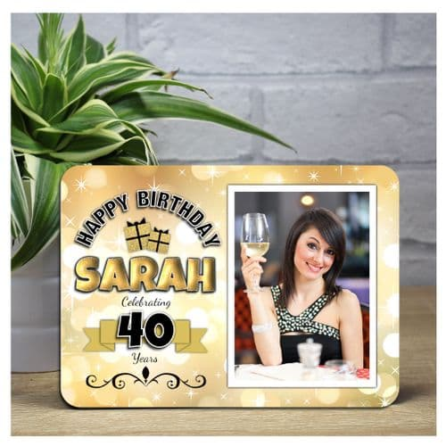 Personalised Happy Birthday Gold Sparkle Wood Photo Panel F5 - Any Age