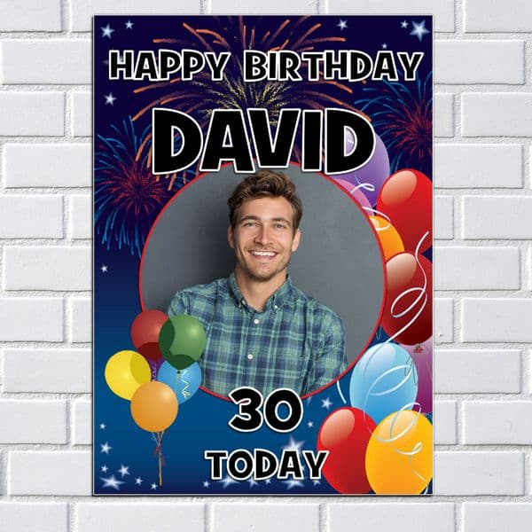 Personalised Happy Birthday Party Firework Balloons PHOTO Poster Banner N5
