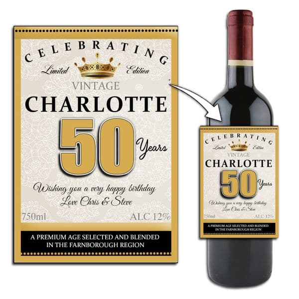 Personalised Happy Birthday Wine / Champagne Bottle Label Gift Idea N158 Any Age