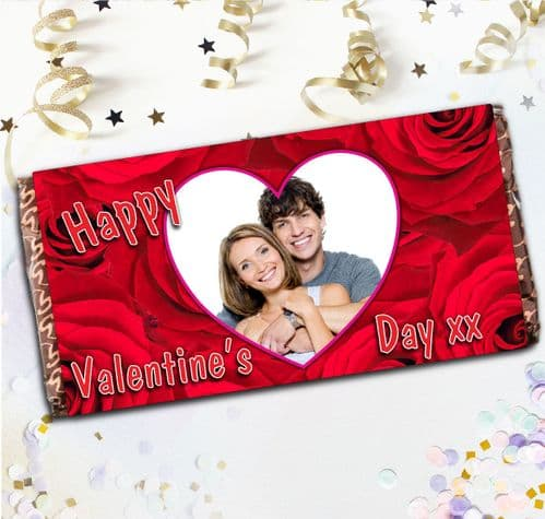 Personalised Happy Valentines Day Milk Chocolate Bar - Love Heart Roses Gift N4