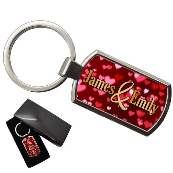Personalised Hearts Keyring with gift box N15 Any Names
