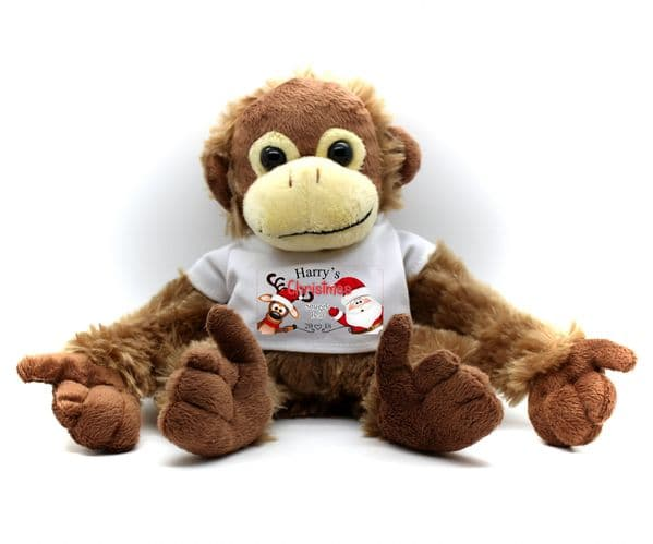 Personalised Monkey Teddy Bear N17 - Any Name Christmas Cuddle Bear Gift