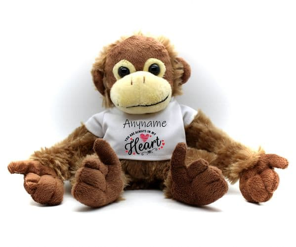 Personalised Monkey Teddy N22 -  'Always in my Heart' Birthday  Christmas Valentines Day Gift
