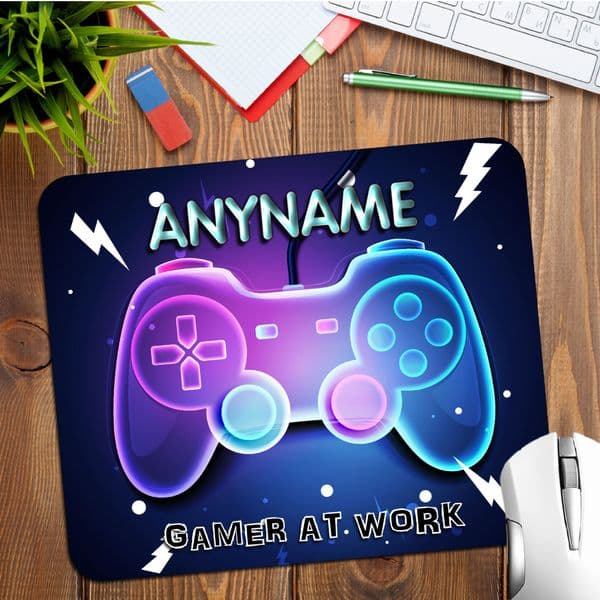 Personalised Neon Any Name Gamers Gaming Mouse Pad PC Computer Mat N19