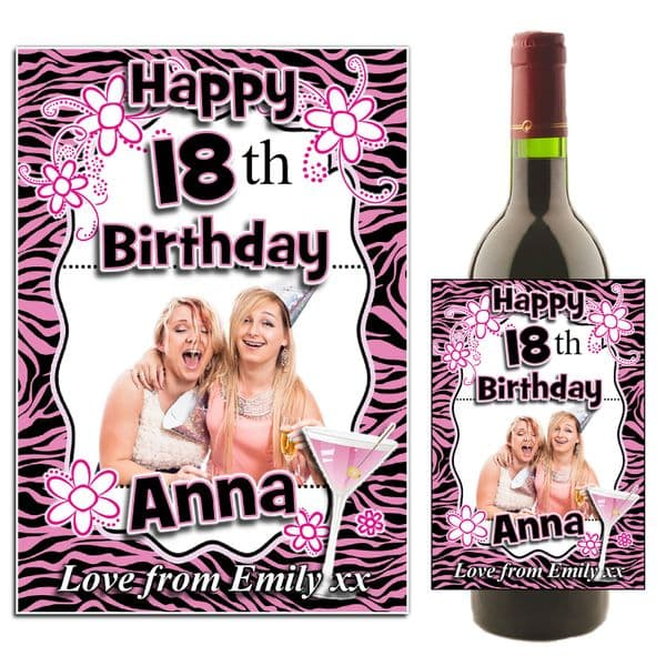 Personalised Pink Glamour Happy Birthday Wine / Champagne Bottle PHOTO Label N12