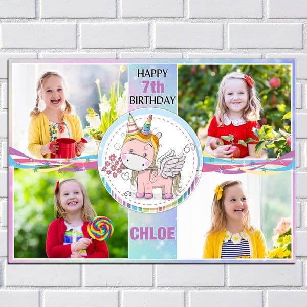 Personalised Rainbow Unicorn Happy Birthday Party PHOTO Banner Poster N210  ANY AGE
