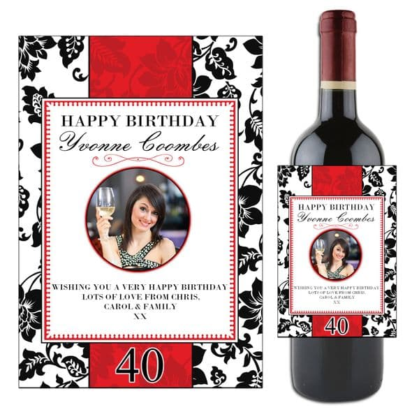 Personalised Red & Black Floral Happy Birthday Wine / Champagne Bottle PHOTO Label N49
