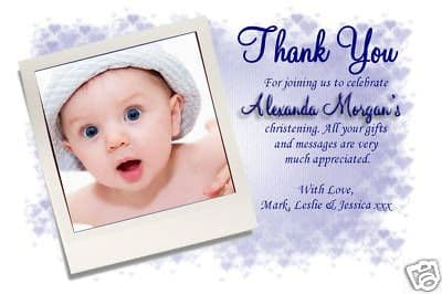 10 Personalised Thank you Thankyou  PHOTO Cards No87