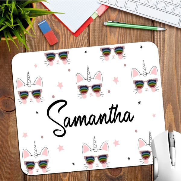 Personalised Unicorn Cat Any Name Mouse Pad PC Computer Mat N35