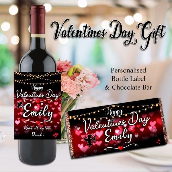 Personalised Valentines Day Gift Wine / Champagne Bottle Label  / Chocolate Bar N128