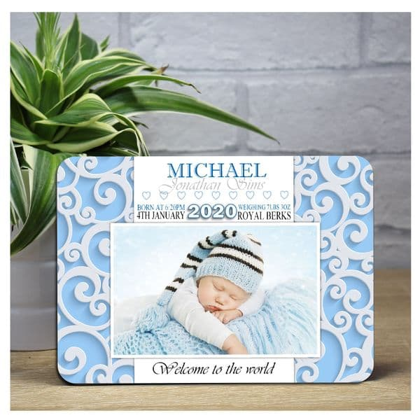 Personalised 'Welcome to the world' New Baby Boy Wood Photo Panel Print F43