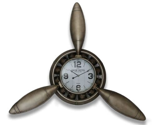 108cm Iron Industrial Propeller Clock Metallic Brown