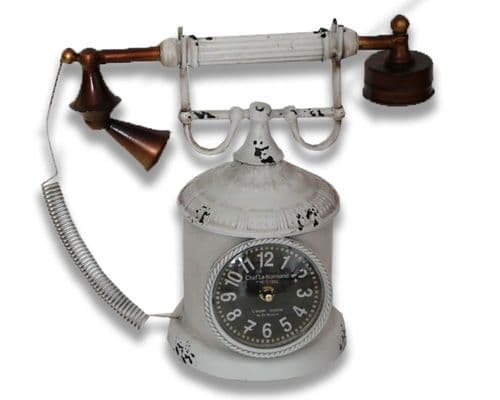 34cm Industrial Telephone Clock White Finish