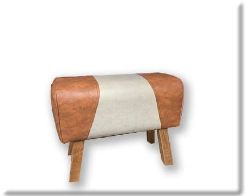 48cm Faux Leather And Canvas Effect Gym Pommel Horse Stool