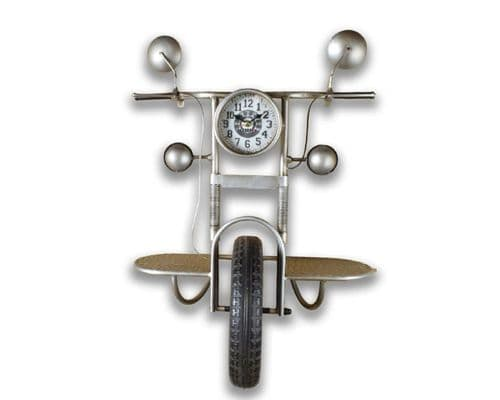 73cm Motor Bike Front Wall Shelf And Clock
