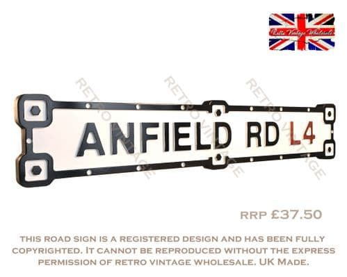 Anfield Rd L4 Industrial White Road Sign
